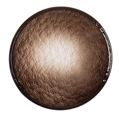 JIASHIQI Placas cerámicas Profundas, Placa de Cena, Placas de Postre, Placas de Cena con lavavajillas con glaseado, Placas Redondas de gres (Color : Brown, Size : 6.02 * 6.02 * 0.66inch)