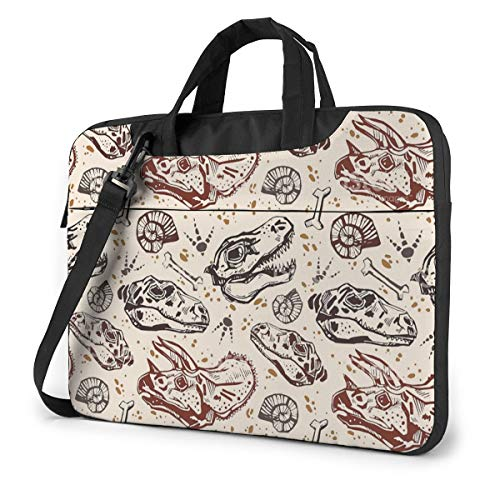 Laptop Shoulder Bag Carrying Laptop Case 15.6 Inch, Dinosaur Print Computer Sleeve Cover with Handle, Business Briefcase Protective Bag for Ultrabook, MacBook, Asus, Samsung, Sony, Notebook