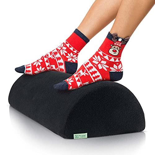 Bequeme Fußstütze Schreibtisch, Büro - Ergonomischer Fußhocker gepolstert aus Festem Memory Foam, Weichem OEKO-TEX Bezug - Perfekte Fußbank, Fußablage, Schemel - DYNMC YOU Premium Fußkissen - Schwarz