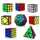 KidsPark Rubix Cube Set 8 Pack 3D Puzzle 2x2 + 3x3 + 4x4 + Pyraminx + Megaminx + Mirror + Skewb + Fenghuolun Speed Cube Magic Toys for Kids & Adults, PVC Sticker Black