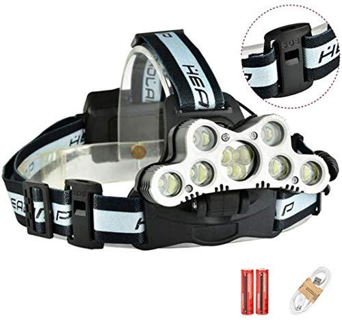 FANPING Spotlight 45000 lúmenes USB 9 LED Faros Faros Ajustables Pesca linternas y SOS silbido de Camping al Aire Libre Seguridad Faros, 7LED, 9LED (Size : 9LED)