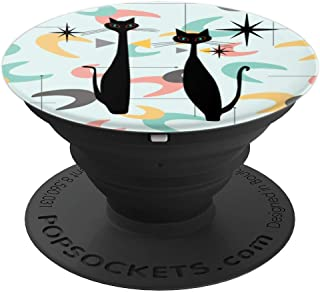 Retro MCM Atomic Era Black Cats & Boomerangs - PopSockets Grip and Stand for Phones and Tablets