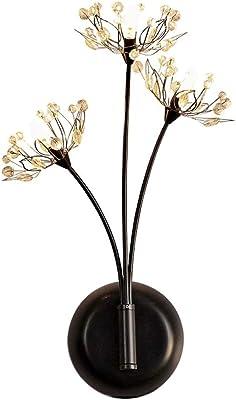 DDNL Moderno Forma de la Flor lámpara de Pared Metal Cristal Luz de Pared por Sala Dormitorio Bar Tienda Sótano Ático Escalera Balcón Sala Club Lavadero Área del Corredor Aplique de Pared,Negro: