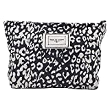 LYDZTION Leopard Print Makeup Bag Cosmetic Bag for Women,Large Capacity Canvas Makeup Bags Travel Toiletry Bag Accessories Organizer,Black