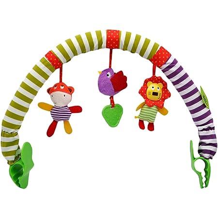 Fallve ベビーカーおもちゃ ぶら下げ玩具 ぬいぐるみ 音鳴り 聴覚に刺激 ベッドクリップ チャイルドシート 挟むだけ おでかけ用 発育促進 寝かしつけ ベビーカー用玩具 幼児用寝具 出産祝い