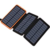 Solar Charger 24000mAh, FEELLE Solar Power Bank with High-Efficiency Foldable Panels and Flashlight, External Battery Pack for...