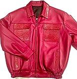 G-Gator Candy Red Alligator/Lamb Skin Bomber Jacket (6XL)