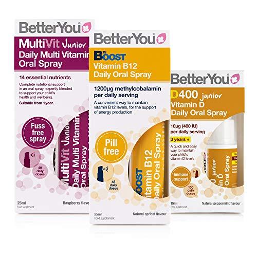 BetterYou Junior Wellness Pack: Vitamin B12 + Vitamin DLux Junior + MultiVit Junior Oral Sprays (3 Pack)