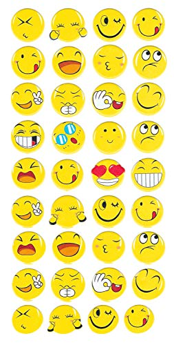 Oxford Novelties Kids 3D Puffy Fun Stickers - Pick From 12 Different Sheets - Animals - Food - Emoji (Yellow Emoji Faces)