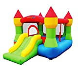 Bounceland Bounce House Castle with Basketball Hoop Inflatable Bouncer, Fun Slide, Safe Velcro Entrance, UL Certified Strong Blower Included, 12 ft x 9 ft x 7 ft H, Kid Castle Party Theme Bounce House