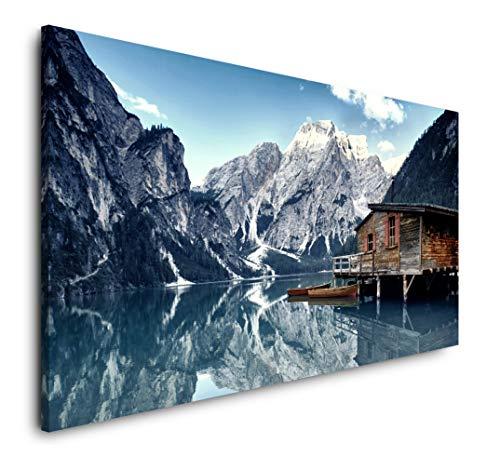 Paul Sinus Art Dolomiten Bergwelt in den Alpen 120x 60cm Panorama Leinwand Bild XXL Format Wandbilder Wohnzimmer Wohnung Deko Kunstdrucke