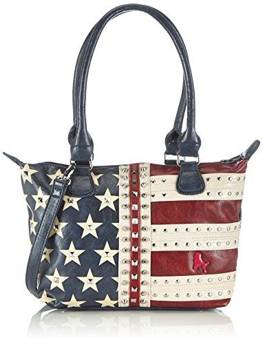 poodlebag Handtaschen Damen Schulter-Taschen mit Nieten im US Flaggen Design Funkyline Flag Tuesday 3FL0714TUUS