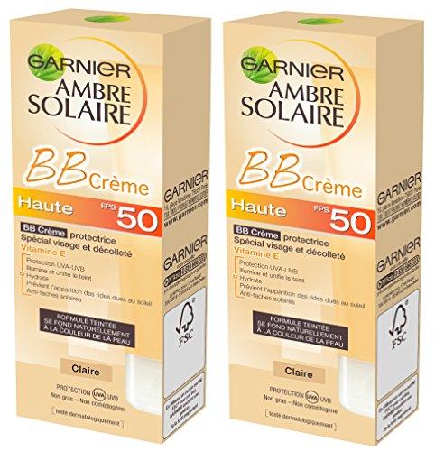 Garnier Ambre Solaire BB Crème Protectrice Visage et Décolleté Teinte Claire FPS 50 50 ml Lot de...