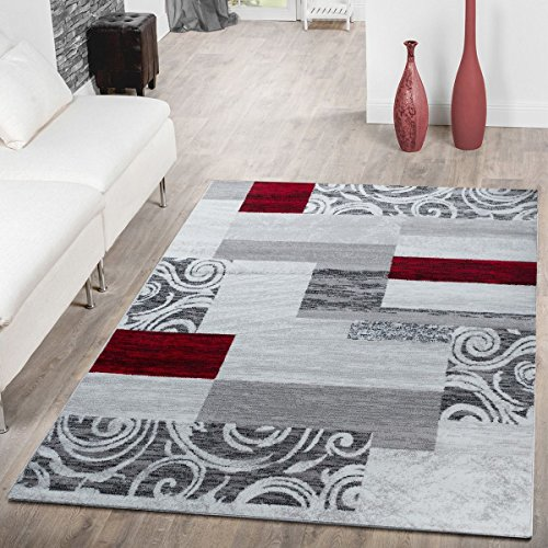 Living Room Rug with Patchwork Design Modern Classic Area Rugs in Grey Red White, Size:2' x 3'3