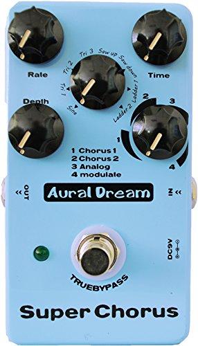 Aural Dream Super Chorus Guitar Effect Pedal includes 4 chorus modes and 8 modulation waveforms reaching 32 effects,True bypass.