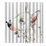 PERFECTPOT Cortina Opaca Perro De Dibujos Animados Cortinas de Salon con Ganchos Termicas Reduccion Ruido para Ventana Dormitorio Habitacion Oficina Cocina Decoración 150x166cm