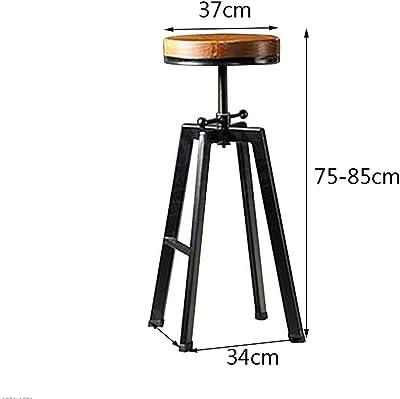 ZCCGJD LOFT Industrial Wind Bar Chair High Chair Dining Chair Retro Lounge Chair Iron Art Solid