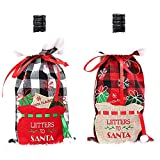 Cubierta de botella de Navidad a cuadros 2PCS botella de vino titular bolsa bolsa suéter botella