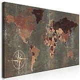 decomonkey | Mega XXXL Bilder Weltkarte | Wandbild Leinwand 170x85 cm Selbstmontage DIY Einteiliger XXL Kunstdruck zum aufhängen | Welt Kontinente braun