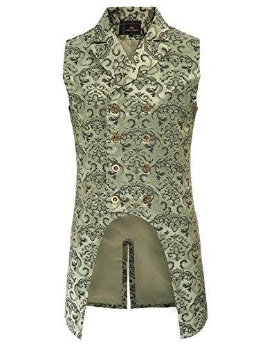 PJ PAUL JONES Mens Victorian Steampunk Waistcoat Gothic Vest L Green