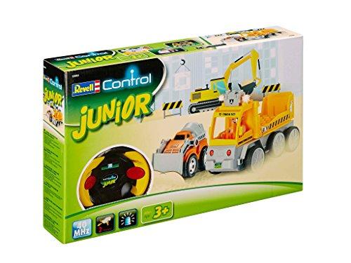 Revell Control Junior RC Car Transporter mit Mini-Bagger, ferngesteuertes Baufahrzeug mit 40 MHz Fernsteuerung, kindgerechte Gestaltung, ab 3, zum Bauen und Spielen, mit Figur, LED-Blinklichtern 23003