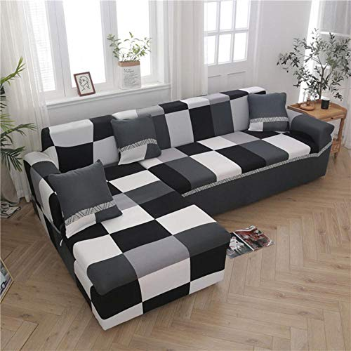 XCVBSofa Cover funda sofa chaise lounge Woonkamer L-vormige Hoekbank Kussenovertrekken Gedrukt Elastische Stretch Sectionele Bank, Kleur 5
