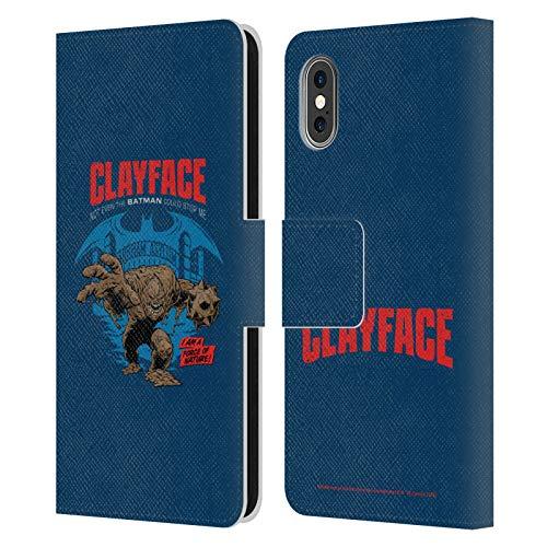 Head Case Designs Licenciado Oficialmente Batman DC Comics Cara de Arcilla Desconexión de Villanos Carcasa de Cuero Tipo Libro Compatible con Apple iPhone X/iPhone XS