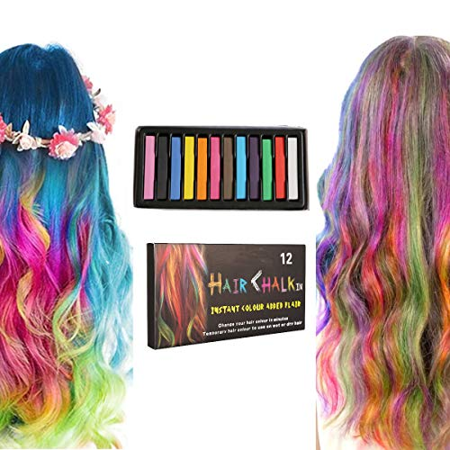 Hair Chalk Stick Set, Halloween Christmas Birthday Cosplay and DIY, Non-toxic Temporary Washable Hair Color Chalk Girls Boys Teen Kids Gift, 12 Colors