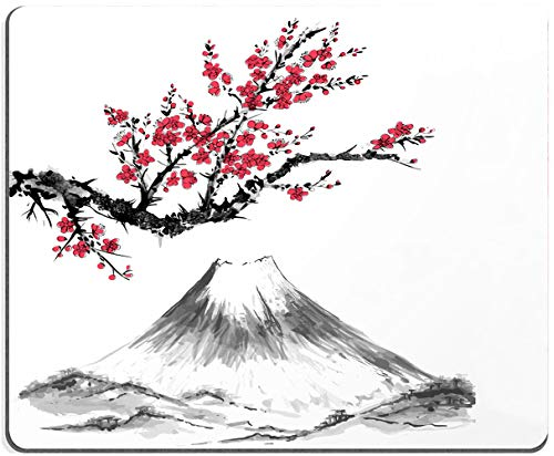 Mouse Pad, Cherry Blossoms Mouse Pad, Sakura and Japan Mount Fuji Mouse Pad, Gaming Mouse Mat, Square Waterproof Mouse Pad Non-Slip Rubber Base MousePads for Office Home Laptop Travel