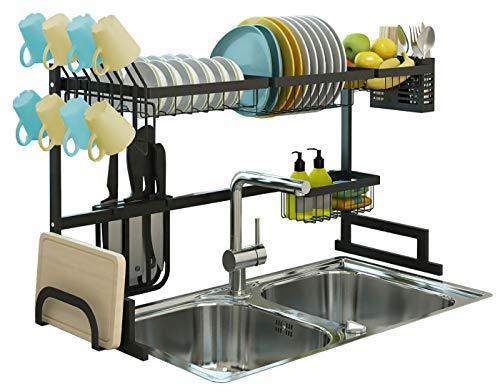 Over Sink Dish Drying Rack, Drainer Shelf for Kitchen Supplies Storage, Counter Organizer, Utensils Holder, 2 Tier for Kitchen Countertop, Rustless Stainless Steel, Space Saver Display Stand (Black)