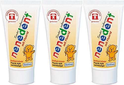 nenedent crema per denti per bambini con fluoruro, sapore di lampone fragola, confezione da 3 (3 x 50 ml)