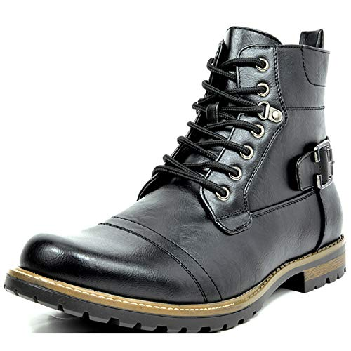 Bruno Marc Men's Philly-5 Black Military Combat Boots - 9 M US