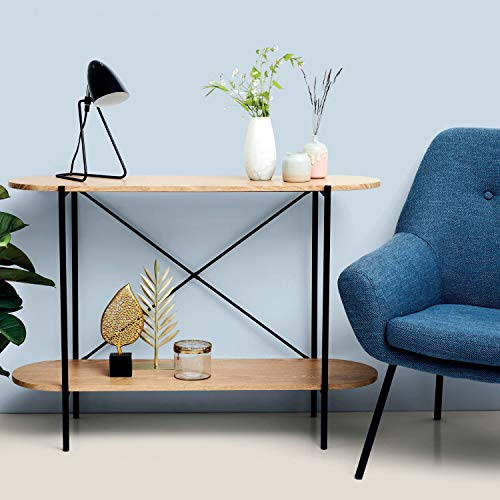 Mesa consola de 100 x 30 x 75 cm con 2 niveles, color negro/natural, mesa auxiliar