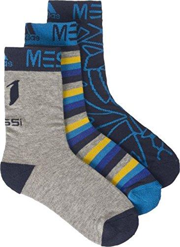 adidas Kinder Messi Kids Socken 3 Paar, Grau/Blau/Navy, 27-30