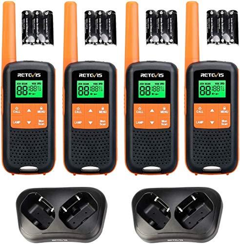 Retevis RT649 Walkie Talkie Recargable PMR446 Sin Licencia IP65 Impermeable 2 Métodos de Carga Dual Linterna 3AA Batería NIMH Walkies Profesionales (Naranja, 2Par)