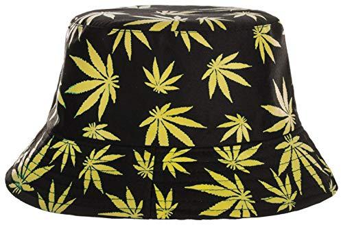 Brandsseller Sonnenhut Cannabis Design Fischerhut Sommerhut Travel Cap 100% Baumwolle (Schwarz-gelb)