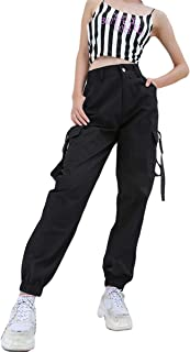 Helisopus Women's Black Stylish Loose Fit Cargo Jogger Harem Pants with Chain Elastic Feet and Pocket