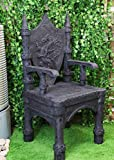 "Ebros Gift 48"" Tall Life Sized Fantasy Dragon Coat of Arms Heraldry Crest Throne Chair Furniture Kings Landing Castle Seat of The Khaleesi Mother of Dragons with Rampart Fort Armrests and Legs"