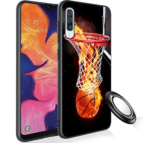 Galaxy A50 Case with Phone Ring Holder, Flaming Basketball Rubber Full Body Protection Shockproof Cover Case Drop Protection Case for Samsung Galaxy A50 2019