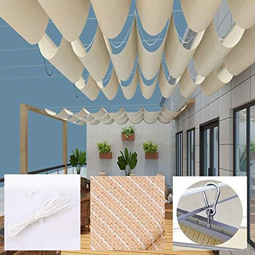 BAIYING Sonnensegel Einziehbares Dach Aktualisierte Version Markise Atmungsaktiv Sonnenschutz Schattentuch, Edelstahlbeschläge, Anpassbare Größe