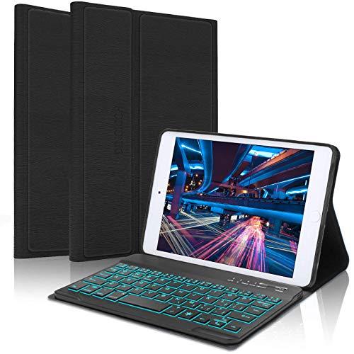 iPad Mini Keyboard Case for iPad Mini 5 / Mini 4 / Mini 3 / Mini 2 / Mini 1, Detachable Bluetooth Wireless, 7 Colors Backlit, Smart Folio Leather Cover Bag (B: Black with Backlit)