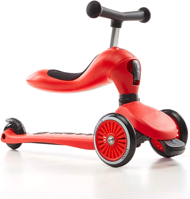 Balance Bike Laufrad,Kinderwaagenfahrzeug 3-Rad-T-Lenker Mit Verstellbarer Hhe Mit Deluxe PU-Blinkrdern - Kann Tretroller Umrüsten - Für 1-8 Jahre,rot
