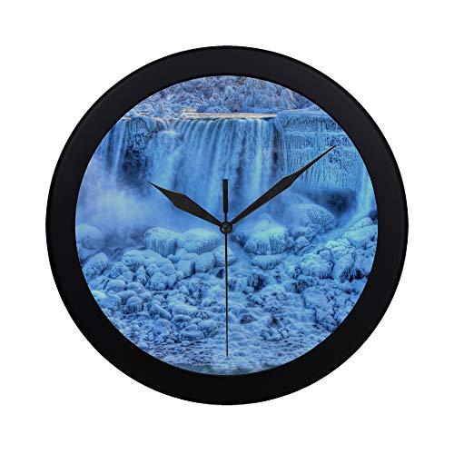 WYYWCY Moderne einfache Niagarafälle aus der Sicht des Mädchens des Nebels Wanduhr Indoor Sweep Movement Clock Wand für Büro, Bad, Wohnzimmer Dekor 9.65 Zoll