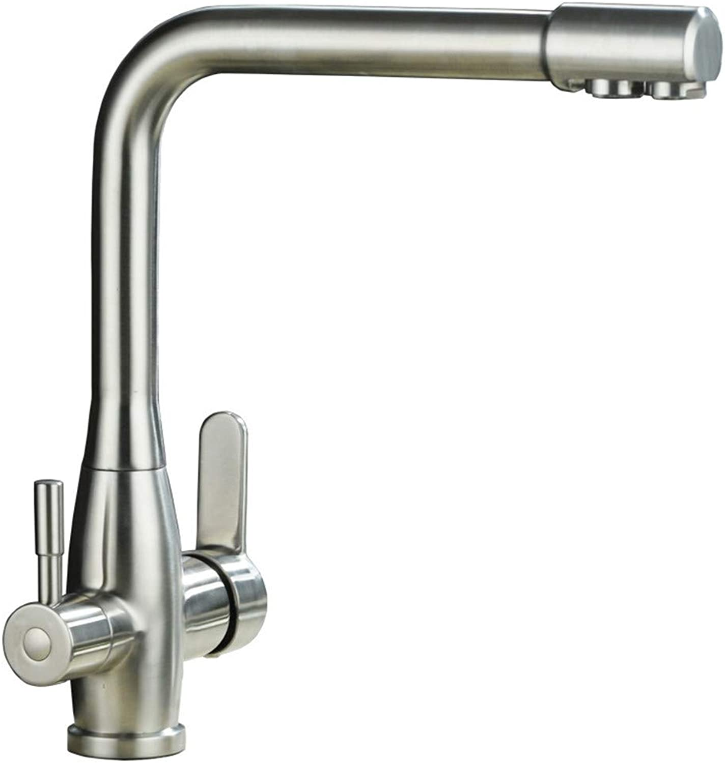 YAWEDA Kitchen Faucet 304 All Stainless Steel Kitchen Sink Faucet Hot Water Mixer Pure Faucet 3 Way with Filter Double Handle