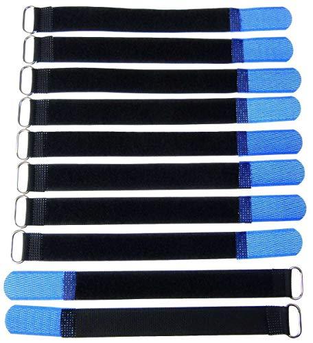 10x 20 cm x 20 mm wiederverschließbare Klett-Kabelbinder BLAU mit Metall-Öse - Kabel-Klettband 200 mm wiederverwendbar