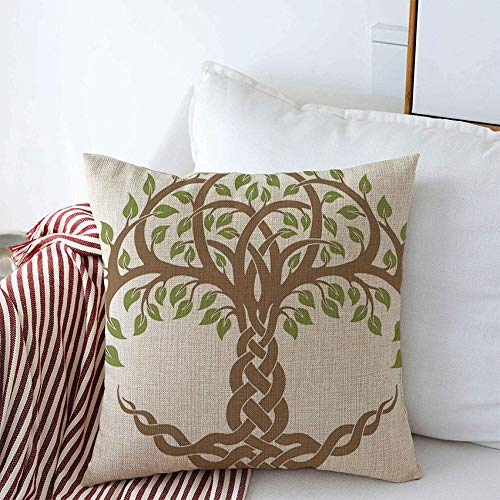 Staromin Throw Pillow Covers Design Floral Green Knot Round Ornament Celtic Brown Tree Roots Life Nature Leaves Modern Textures Linen Cushion Pillow Covers for Couch Car Bedroom Decoration 16x16 Inch
