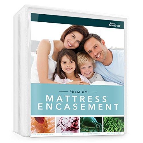 Zen Bamboo Mattress Encasement - Best Lab Tested Premium Spill Proof, Hypoallergenic, Cool & Breathable Rayon Derived from Bamboo Mattress Encasement and Cover - Queen