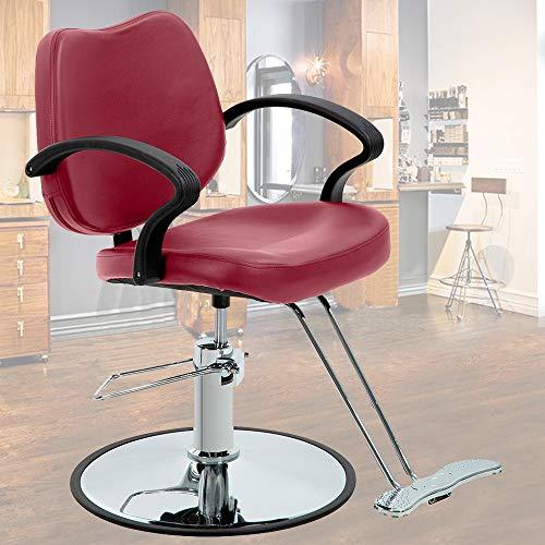Salon Chair Barber Chair Styling Chair Hydraulic Heavy Duty Leather Swivel Classic Hair Salon Chair Shampoo Tattoo Spa Beauty Equipment for Hair Stylist Women Man,Burgundy