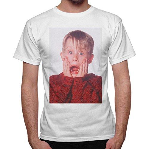 thedifferent T-Shirt Uomo Urlo Kevin Mccallister Mamma Ho Perso L'Aereo - Bianco