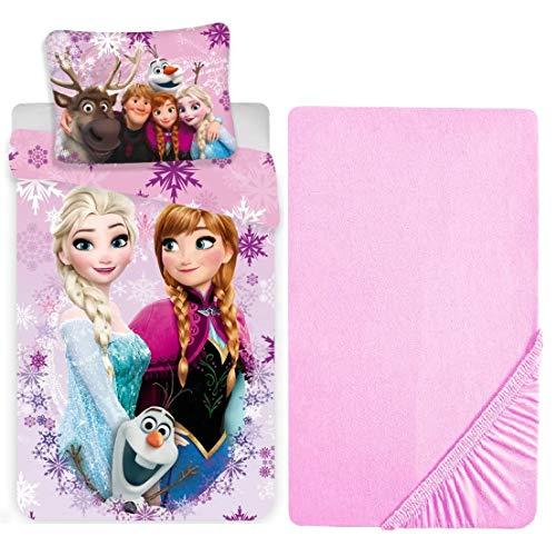 L.T.Preferita Disney Frozen - Juego de ropa de cama para bebé, cuna de 3 piezas, funda nórdica + funda de almohada + sábana bajera
